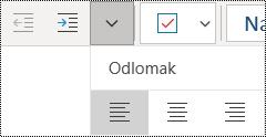 Lijevo poravnanje odlomaka u aplikaciji OneNote za Windows 10