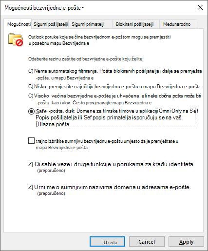 Mogućnosti bezvrijedne e-pošte