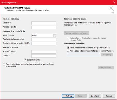Unesite informacije o POP ili IMAP poslužitelju