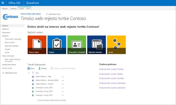 Snimka zaslona s prilagođenim timskim web-mjestom s web-podmjestom