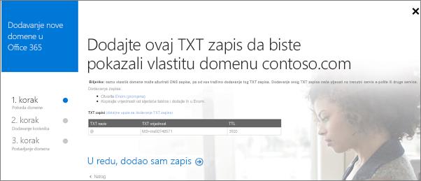 Dodajte TXT zapis da biste potvrdili da ste vlasnik domene.