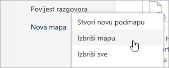 Snimka zaslona mogućnosti izbornika Brisanje mape