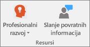 Grupa resursa na kartici Bilježnica za predmet.