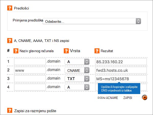 Unos vrijednosti na stranici Dodaj/izmijeni zonu DNS-a