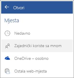 Snimka zaslona pregledavanja datoteka čije su vam zajedničko korištenje omogućili drugi u sustavu Android.