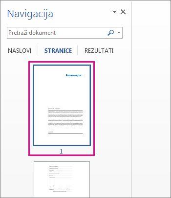 Minijature stranica u navigacijskom oknu