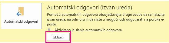 Snimka zaslona dijaloškog okvira Isključivanje automatskih poruka u programu Outlook