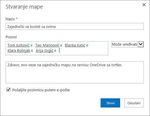 Dijaloški okvir za prikaz adresa e-pošte osoba kojima želite omogućiti zajedničko korištenje mape servisa OneDrive za tvrtke.