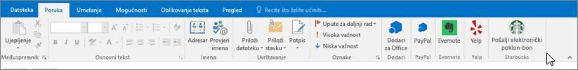 Snimka zaslona na vrpci programa Outlook s naglaskom na kartici poruka u kojoj će se pokazivač upućuje na dodaci na lijevoj strani. U ovom primjeru dodatke su dodaci za Office, PayPal, Evernote, Yelp i Starbucks.