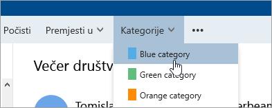 Snimka zaslona s gumbom kategorije