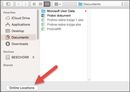 """Izbornik Otvaranje datoteke u prikazu """"Na mojem Macu""""."""