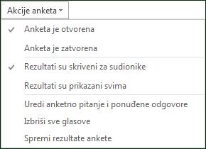 Snimka zaslona s akcijama anketa