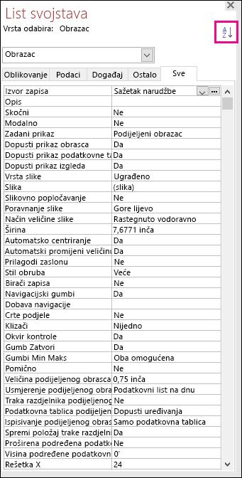 Snimka zaslona s prikazom lista svojstava bez sortiranja svojstava
