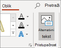 Gumb AltText oblika u programu PowerPoint za Windows