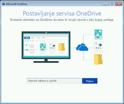 Snimka zaslona prvog zaslona postavljanja servisa OneDrive u sustavu Windows 7