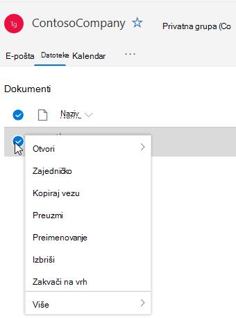 Prikaz mogućnosti brisanja i preimenovanja datoteka