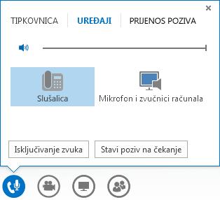 Snimka zaslona s kontroloma audiopoziva
