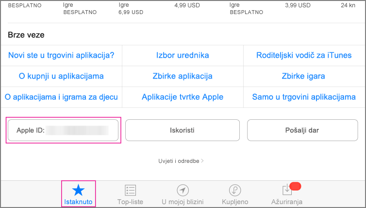 Istaknuti odjeljak u trgovini App Store