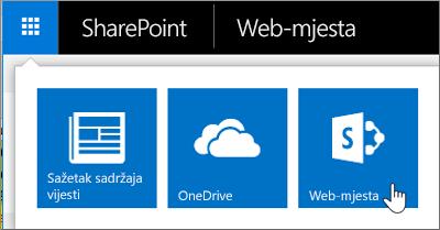 U gornjem desnom kutu stranice odaberite pokretač aplikacija, a zatim Web-mjesta.