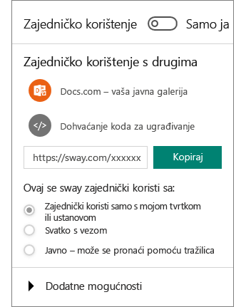 Snimka zaslona na kojoj se prikazuje okno Zajedničko korištenje aplikacije Sway.