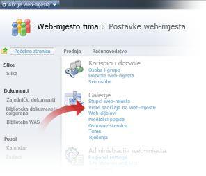 Odabir vrsta sadržaja web-mjesta iz prozora Postavke web-mjesta