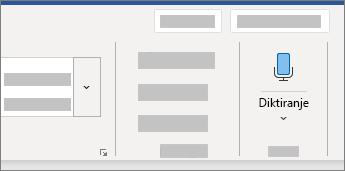 Prikazuje korisničko sučelje za diktat u programu Word
