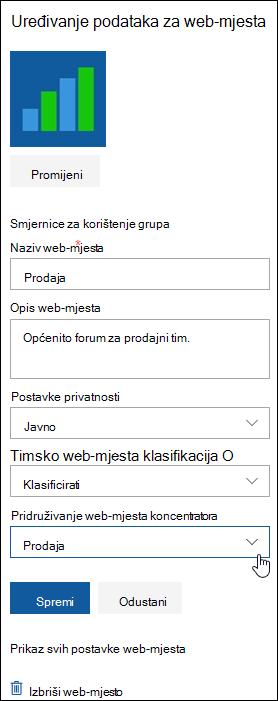 Povezivanje web-mjesta sustava SharePoint sa središnjim web-mjestom