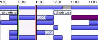 rešetka s podacima o slobodnom/zauzetom vremenu u programu outlook