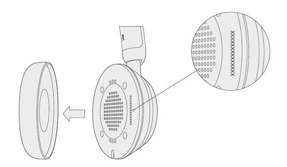 Microsoft Modern USB headset with ear pad removed