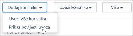 Snimka zaslona: Kaizala uvoz povijest stranice