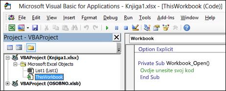 Ova radna knjiga modul u Visual Basic Editor (VBE)