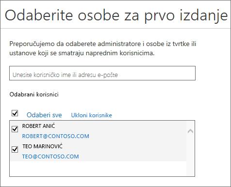 Dodavanje korisnika u programe sustava Office 365