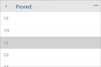 Snimka zaslona sustava Word Mobile s zbornikom za odabir vrijednosti proreda.