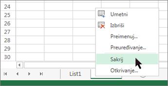 Da biste sakrili radni list, desnom tipkom miša kliknite karticu lista, a zatim Sakrij.
