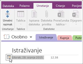 Snimka zaslona s načinom promjene pečata s datumom na stranici u programu OneNote 2016.