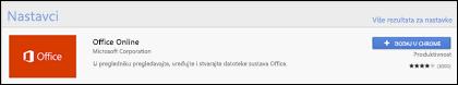 Službeni Office Online datotečni nastavak u trgovini Web Chrome