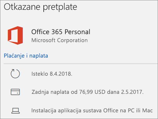 Pokazuje pretplatu na Office 365 koja je istekla