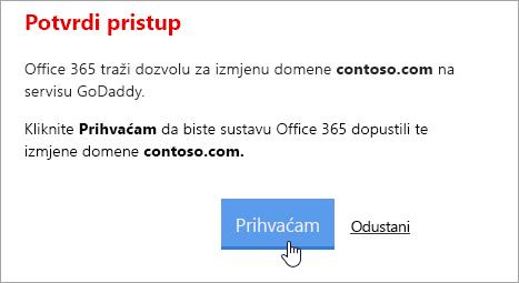 Snimka zaslona s gumbom Prihvati na stranici Potvrda pristup servisu GoDaddy.