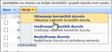 Uklanjanje korisničkih dozvola iz izbornika Akcija