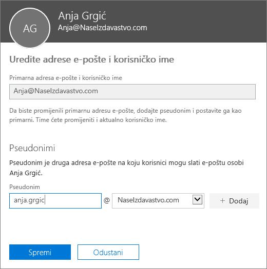 Okno za uređivanje adresa e-pošte i korisničkog imena prikazuje adresu primarne e-pošte te novi pseudonim koji želite dodati.