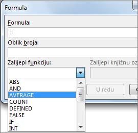 Funkcije lijepljenja formule prikazane su na kartici Alati za tablice – raspored.