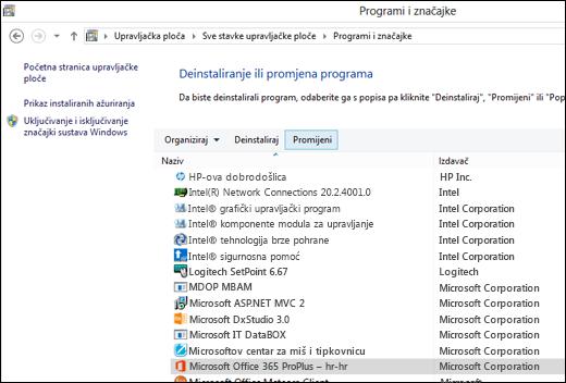 Kliknite Promijeni u apletu za deinstalaciju programa da biste pokrenuli popravak sustava Microsoft Office.