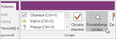 Snimka zaslona gumba Pronađi oznake u programu OneNote 2016