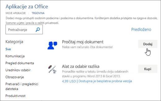 Snimka zaslona aplikacije za Office u spremište na kojem možete odabrati ili traženje aplikacije za Word.