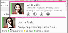 Outlook u programu Skype za tvrtke brzi izbornik