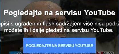 U ovoj se poruci o pogrešci s YouTubea objašnjava da servis više ne podržava videozapise s ugrađenim oblikom Flash