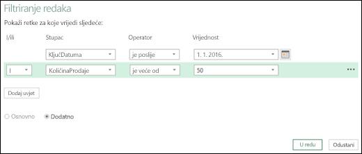 Dijaloški okvir Reci naprednog filtra dodatka Power BI za Excel unutar uređivača upita