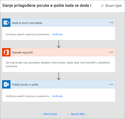 Slijedite upute na web-mjestu sustava Microsoft Flow da biste povezali tijek