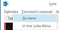 Snimka zaslona na kojoj korisnik u svojstvu ovlaštenika započinje trenutačni sastanak