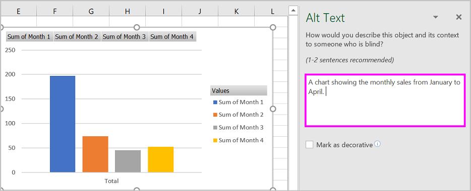 Okno za zamjenski tekst i primjer zamjenski tekst za zaokretni grafikon.